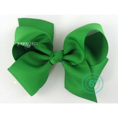 Extra Large Hair Bow Kelly Green Hair Bow 6 6 Inch Hair Bows Big Bow... ($8.95) ❤ liked on Polyvore featuring accessories, hair accessories, barrettes & clips, grey, ribbon hair bows, alligator hair clips, barrette hair clips, bow hair clips and hair clip accessories
