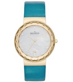 94819045b14 Skagen Denmark Teal Leather Strap Watch Skagen Watches
