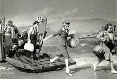 Here's a Normandy Beach landing photo they don't show you in textbooks. Brave women of the Red Cross arriving in 1944 to help the injured troops.
