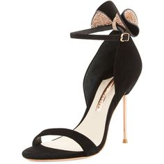 Sophia Webster Maya Bow Suede 115mm Sandal (3.985 HRK) ❤ liked on Polyvore featuring shoes, sandals, heels, black, ankle wrap sandals, heeled sandals, black suede shoes, black ankle strap sandals and bow sandals