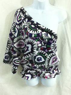 b5dea0943e Juniors RACHEL LYM Multi Purple One Shoulder Swim Top Cover-Up Shirt Sz L #