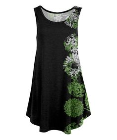 Black & Green Mum Flower Sleeveless Tunic - Plus Too