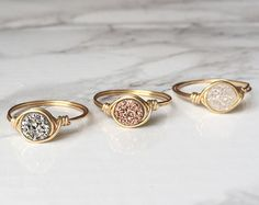 Minimalist Druzy Ring // Delicate Druzy Ring // Rose Gold Druzy Wire Wrapped Jewelry // Handmade Ring