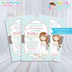 Invitaciones Primera Comunion niña Imprimible 4x6 digital confirmacion rosa menta oro dorado.
