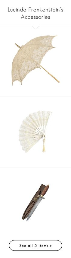 """""""Lucinda Frankenstein's Accessories"""" by nerdbucket ❤ liked on Polyvore featuring accessories, umbrellas, parasols, vintage, fillers, antique umbrella, ivory lace umbrella, vintage umbrellas, lace umbrella and ivory umbrella"""
