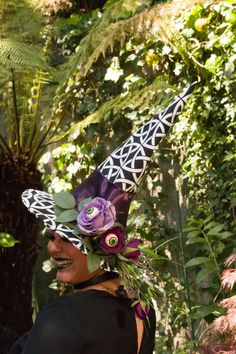 Black and White Witch/Wizard Hat with Purple by HatsInTheBelfrey