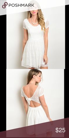 "Off White Dress This LOVELY lace dress features an a-line silhouette and a scooped neckline. L:32"" B:32"" W:32"" Dresses Midi"