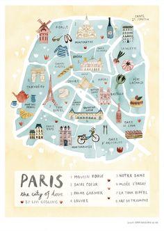 paris illustrated map france art print city map poster