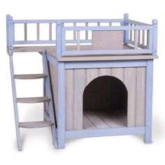 Outdoor Dog Cat Deck Bed Doghouse Wooden Pet House Steps Deck Shelter Indoor#OutdoorDogHouse#Steps#Deck