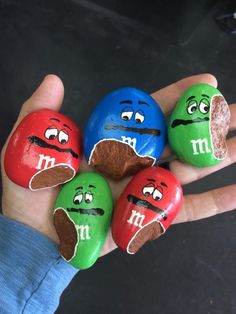 Painted rocks that look like M&Ms
