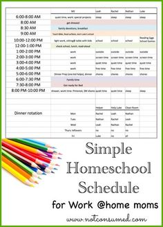 Simple Homeschool Schedule for Working Moms - Not Consumed---Not really interested in the schedule itself but I really like the layout of her visual schedule. I must copy it! schedule Simple Homeschool Schedule for Working Moms Homeschool Kindergarten, Homeschool Curriculum, Online Homeschooling, Kindergarten Schedule, Montessori Homeschool, How To Start Homeschooling, Homeschool High School, Kindergarten Lessons, What Is Work