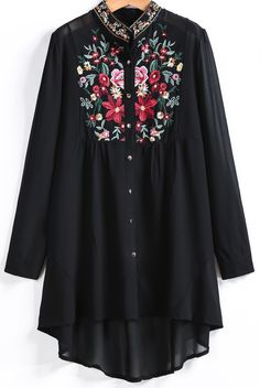 Tops Fashion 2016 Womens Stand Collar Long Sleeve Floral Embroidered Dipped Hem Spring Black Blouse