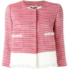 Max Mara tweed jacket ($735) ❤ liked on Polyvore featuring outerwear, jackets, red, pink jacket, red jacket, collarless tweed jacket, tweed jacket and maxmara