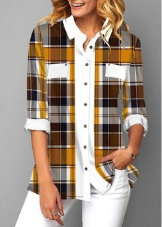 Button Up Plaid Print Turndown Collar Shirt Stylish Tops For Girls, Trendy Tops For Women, Chef D Oeuvre, Looks Style, Collar Shirts, Blouse Designs, Stylish Outfits, Trendy Fashion, Shirt Style