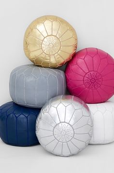 This handmade Moroccan leather pouf is crafted by local artisans using eco-friendly processes. The leather tanning and drying process creates subtle variations in color, making each piece unique-perfe