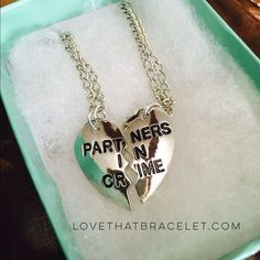 "New Partners in Crime Best Friend Necklaces(2pcs) Bestselling hot best friend necklace gift for that one person who knows exactly how to make you laugh when you want to cry. You have a ton of friends, but this is a gift for ""the one"". Silver tone. Handstamped alloy metal. Jewelry Necklaces"