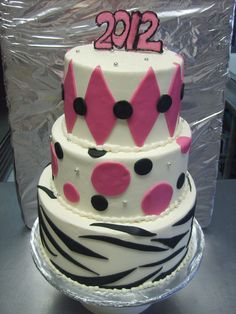 Pink and Black 3-tiered Graduation Cake