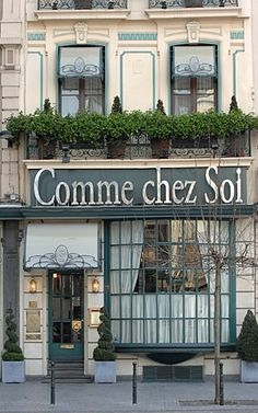 COMME CHEZ SOI - Luxury restaurant in Brussels, Belgium with Art Nouveau Decor.  It's specialty is fillet of North Sea sole with a white wine mousseline of tiny shrimp.  Sounds wonderful!
