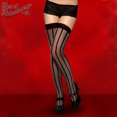11.30$  Buy here - http://viseu.justgood.pw/vig/item.php?t=4181t9l35177 - PLUS SIZE Gothic Black Sheer VERTICAL STRIPED THIGH HIGHS High Tights Burlesque