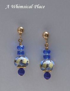 Blue and Tan Hand-fired Gold Filled Designer Bead Earrings On Sale