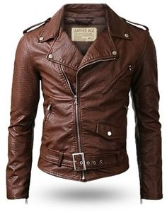 Belted Rider Leather Jacket Brown -