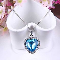 Heart of Ocean Titanic Crystal Necklace Pendant with Chain