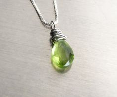 Peridot Necklace Sterling Silver - natural stone green gemstone briolette pendant wire wrapped simple August birthstone. $27.00, via Etsy.
