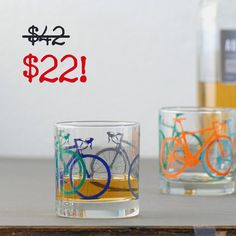SALE  Vital Bicycle screen printed glassware set of four by vital, $22.00