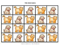 Pets theme, including pattern block patterns in color and black and white