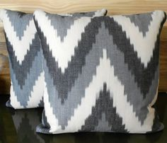 Gray ikat chevron decorative pillow cover by pillowflightpdx, $28.00- for guest bedroom with toile bedding
