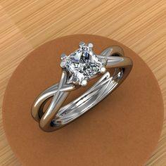 Platinum Princess Cut Diamond Engagement Ring, Split Shank, Half Carat. jetflair