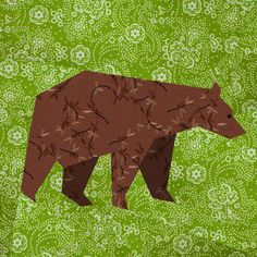 Bear paper pieced quilt block pattern PDF. Block 5 of 5 for Cody's quilt.