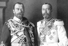 Tsar Nicholas II and his first cousin, King George V. They bore a striking resemblance to one another, being the sons of two Royal Sisters, Princess Alexander of England and Princess Dagmar, Empress of Russia.