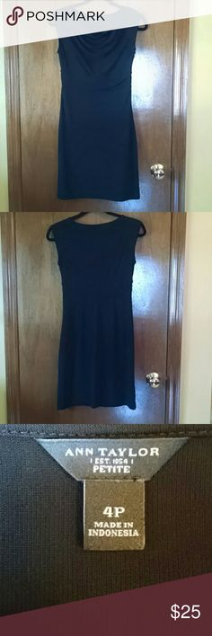 Ann Taylor Black Sheath Dress- Size 4P This is a black sheath dress by Ann Taylor. Size 4 Petite.  Neckline is weighted to keeps the fabric in place. Hidden side zipper. Fits true to size. Excellent condition. Ann Taylor Dresses