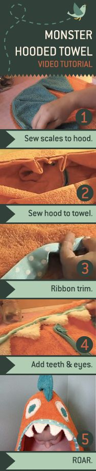 Your little monster will beg for bathtime when you make them an adorable Hooded Monster Towel.