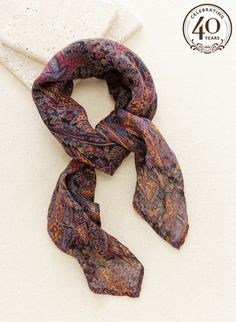 The handkerchief scarf of soft, gauzy viscose is paisley patterned in black, periwinkle, burgundy, and terra cotta. Peruvian Connection, 40th Anniversary, Paisley Pattern, Bandana, Burgundy, Fashion, Moda, Bandanas, Fashion Styles