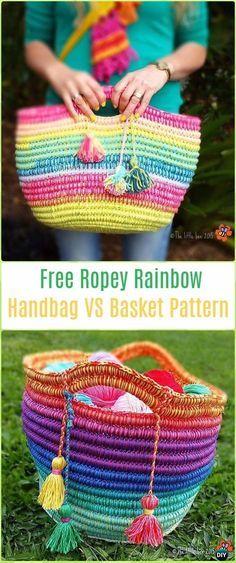 Crochet Ropey Rainbow Handbag or Basket - Crochet Handbag Free Patterns Instructions