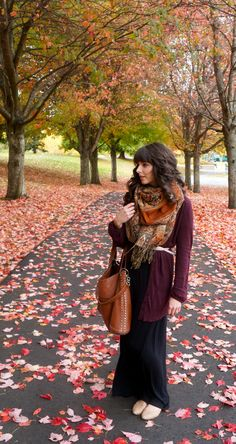 Maxi skirts for Fall--love this whole outfit! the scarf, bag, cardigan, everythingg