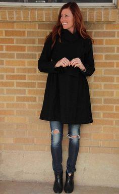 Nicholas K~Black Double Breasted Wool Button Peacoat Dress~M~$420 **RARE** #NicholasK #Peacoat