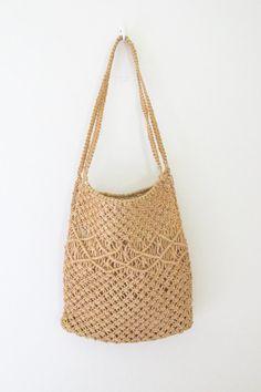Long Natural Woven Macrame Hemp Bag by freekittensvintage on Etsy, $22.00