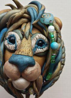 Lion head polymer clay box by jackienewton1 on Etsy