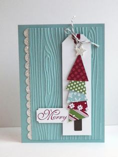Bright & Colorful Embossed Merry Card...with Christmas tree made from paper scraps.