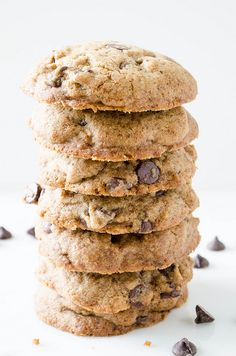 Eat Stop Eat To Loss Weight Buckwheat Chocolate Chip Cookies (Gluten Free) replace stevia with maple syrup In Just One Day This Simple Strategy Frees You From Complicated Diet Rules - And Eliminates Rebound Weight Gain Cookies Gluten Free, Gluten Free Chocolate Chip Cookies, Gluten Free Baking, Gluten Free Desserts, Healthy Desserts, Gluten Free Recipes, Sugar Cookies, Vegan Recipes, Biscuit Sans Gluten