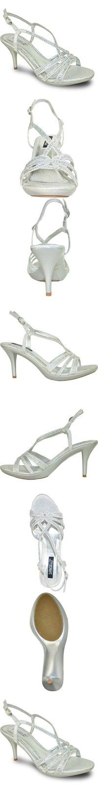 VANGELO Women Sandal ABBEY-4_SILVER Heel Party Prom & Wedding Sandal with Sparkling Strap Detail SILVER 8.5M #promheelssilver