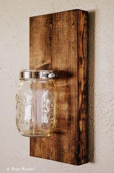 Everyday Rustic Wooden Mason Jar Sconce by PennRustics on Etsy