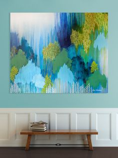 abstract painting, original art, whymsical abstract landscape painting