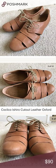Coclico Ishiro leather cut out oxford flats Nevada Bunny color is a light tan. They've been treated with leather conditioner over the years so the color may be a little darker than what they were originally. In great condition - but with signs of wear. There are marks on the shoes as I tried to point out in the pictures, there are sections that are a little more worn or bleached by the sun. Have heel inserts.   Soft leather upper. Tonal lace-up front. Cutouts at vamp sides. Leather lining…