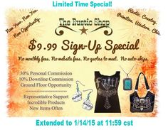 it's $9.99 For sign up!!  come and Join !  www.countrywesternrustic.com   #signup #Rep