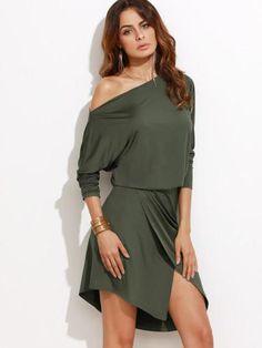 army green wrap dress, off the shoulder split dress, trendy overlap wrap dresses - Lyfie