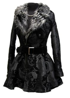 Moto Coat by Shrine. Luxurious vintage style women's motorcycle jacket. Made in rich black tapestry fabric with contrasting black velvet shoulder straps and belt the collar is made in luxurious, soft faux grey wolf fur. Zips in front and at each cuff with heavy-duty gunmetal zippers. Collar, shoulder straps and belt loops are held in place by sturdy gunmetal snaps. Belted at the waist for a flattering fit, with a skirt that flairs out at the hips. Shrine Clothing Is Proudly Made In Th